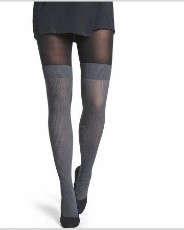 strømpebuks overknee look, grå