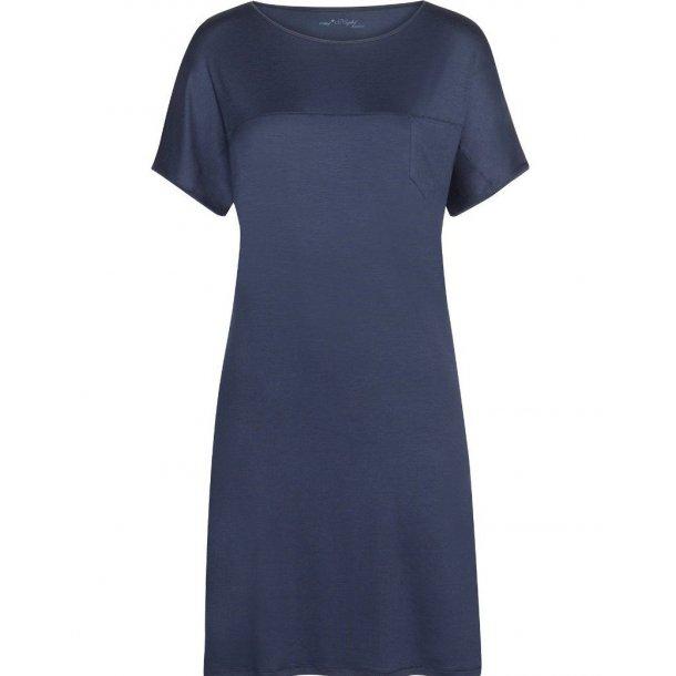Selina natkjole med korte ærmer, mørkeblå